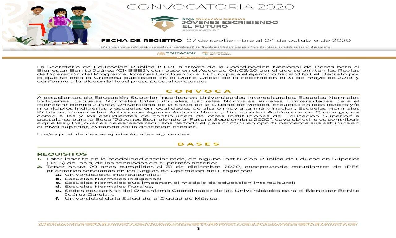 Convocatoria de Becas para estudiantes del 1,3,5,7 y 9 semestre.